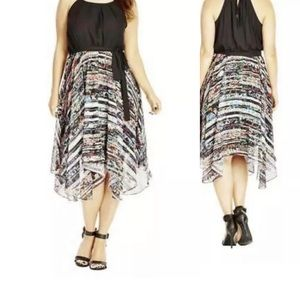 City Chic Black Asymmetrical Chiffon Dress 18W